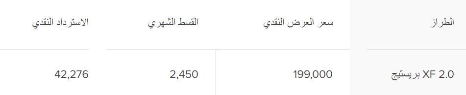 عروض جاكوار السعودية XF 2020
